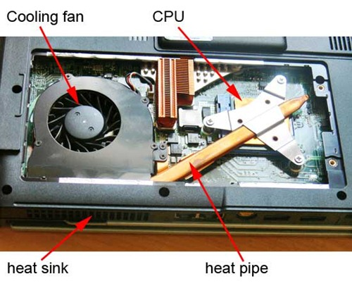 Acer laptop cooling system showing fan and heat pipe